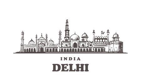 Delhi sketch skyline. Delhi, India hand drawn vector illustration. Isolated on white background.  Иллюстрация