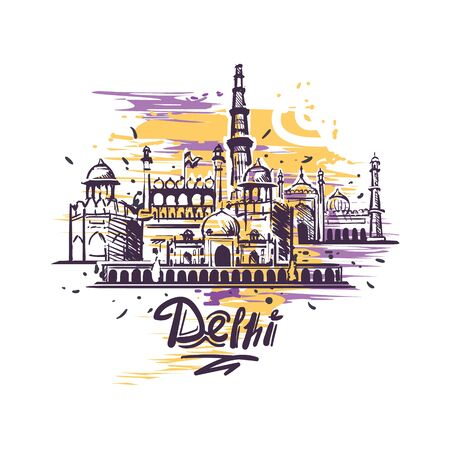 Delhi abstract art color drawing. Delhi sketch vector illustration isolated. Ilustração