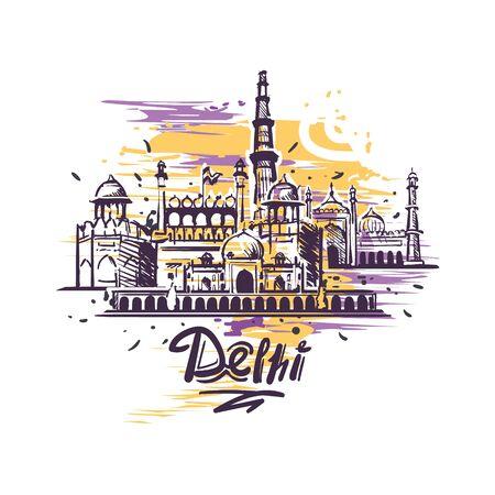 Dessin de couleur d'art abstrait de Delhi. Illustration de vecteur de croquis de Delhi isolée. Vecteurs