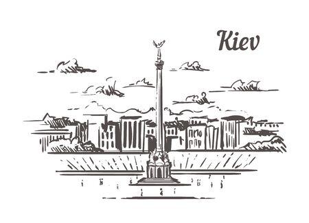 Kiev skyline sketch. Kiev hand drawn illustration isolated.