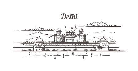 Delhi Red fort sketch. Delhi hand drawn illustration isolated. Ilustrace
