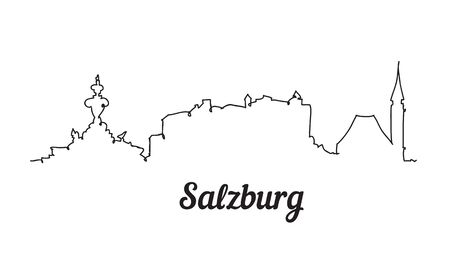 One line style Salzburg skyline. Simple modern minimalistic style vector. Иллюстрация