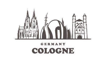 Cologne sketch skyline. Cologne, Germany hand drawn vector illustration. Illusztráció