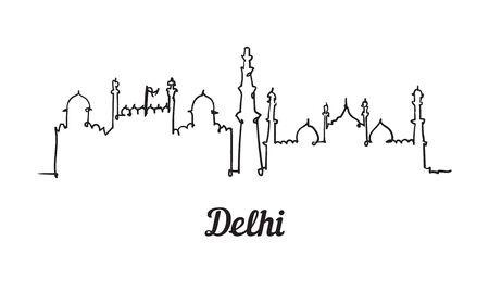 One line style Delhi skyline. Simple modern minimalistic style vector.