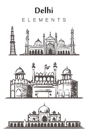 Ensemble de bâtiments de Delhi dessinés à la main, éléments esquissent une illustration vectorielle.