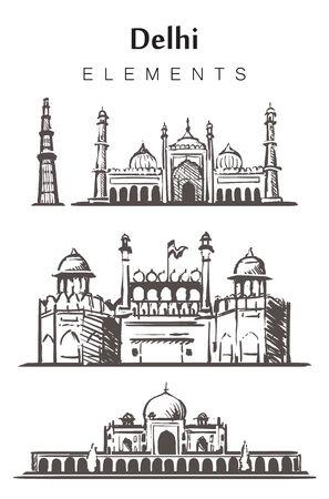 Set of hand-drawn Delhi buildings, elements sketch vector illustration.