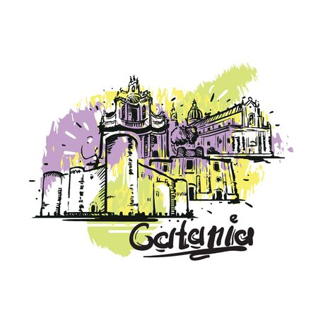 Catania abstract art color drawing. Catania sketch vector illustration isolated.