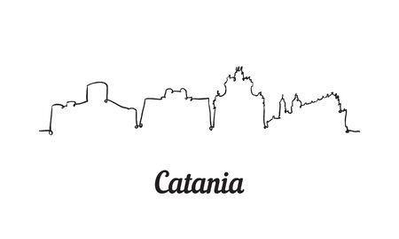 One line style Catania skyline. Simple modern minimalistic style vector.