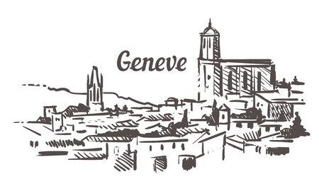 Girona skyline sketch. Girona hand drawn illustration isolated.