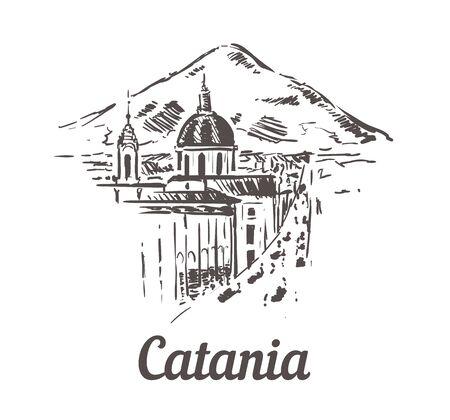 Catania skyline sketch. Catania hand drawn illustration isolated on white background.
