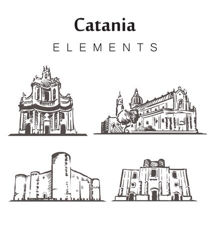 Catania abstract art color drawing. Catania sketch vector illustration isolated on white background. Cathedral of St. Agatha, Church of St. Nicholas, Collegiate Basilica, Ursino Castle.