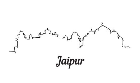 One line style Jaipur skyline. Simple modern minimalistic style vector. Иллюстрация