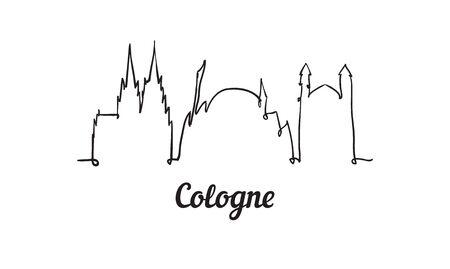 One line style Cologne skyline. Simple modern minimalistic style vector. Isolated on white background.  Illusztráció
