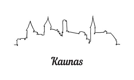 One line style Kaunas skyline. Simple modern minimalistic style vector.