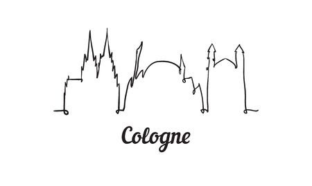 One line style Cologne skyline. Simple modern minimalistic style vector. Isolated on white background.