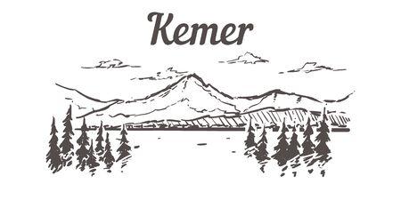 Croquis d'horizon de Genève. Illustration dessinée à la main de Genève isolée sur fond blanc. Vecteurs
