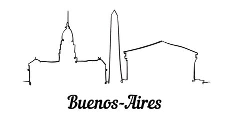 One line style Buenos-Aires skyline. Simple modern minimalistic style vector. Isolated on white background.