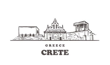 Crete sketch skyline. Crete, Greece hand drawn vector illustration. Isolated on white background.
