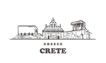 Kreta-Skizze-Skyline. Kreta, Griechenland handgezeichnete Vektor-Illustration. Isoliert auf weißem Hintergrund.