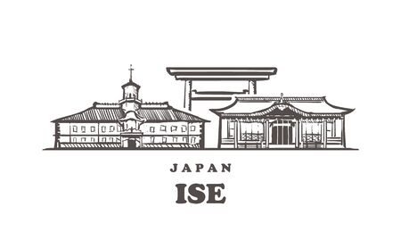 Ise sketch skyline. Ise, Japan hand drawn vector illustration. Isolated on white background.