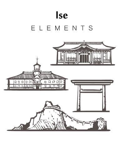 Set of hand-drawn Ise buildings, elements sketch vector illustration. Meoto-Willow, Geku, school.