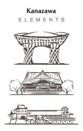 Set of hand-drawn Kanazawa buildings, elements sketch vector illustration.