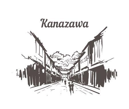Kanazawa Higashichaya Old Town skyline sketch. Kanazawa hand drawn illustration isolated on white background.