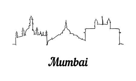 One line style Mumbai skyline. Simple modern minimalistic style vector. Isolated on white background.