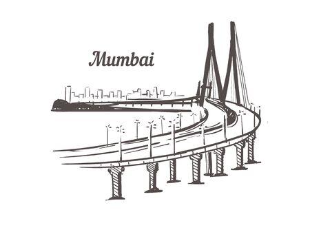 Mumbai skyline sketch. Mumbai hand drawn illustration isolated on white background.