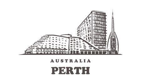 Perth sketch skyline. Australia, Perth hand drawn vector illustration. Isolated on white background.