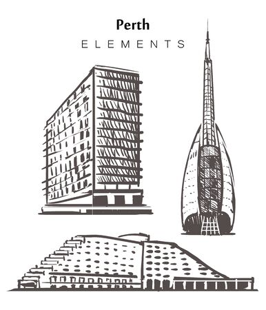 Set of hand-drawn Perth buildings, elements sketch vector illustration.