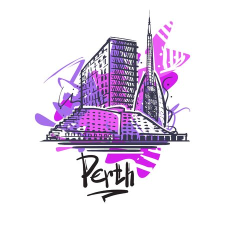 Perth abstract art color drawing. Perth sketch vector illustration isolated on white background.
