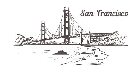 San-Francisco Golden Gate skyline sketch. San Francisco hand drawn illustration isolated on white background.