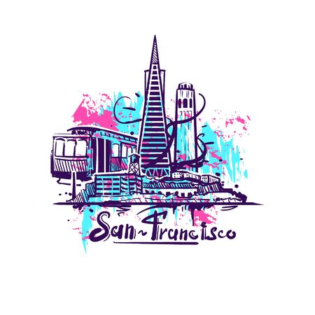 San-Francisco abstract art color drawing. San Francisco sketch vector illustration isolated on white background.