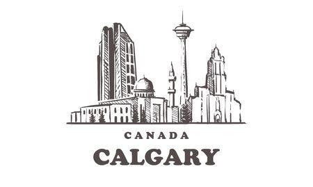 Calgary sketch skyline. Canada, Calgary hand drawn vector illustration. Isolated on white background. Иллюстрация