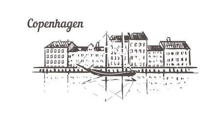 Skyline-Skizze von Kopenhagen. Kopenhagen handgezeichnete Illustration isoliert auf weißem Hintergrund.