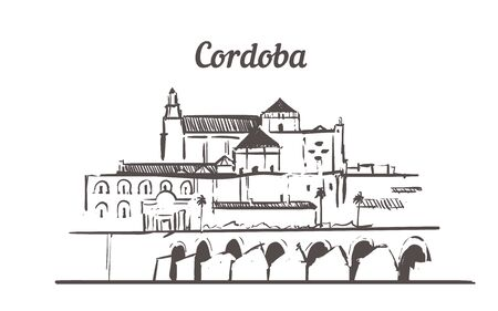 Cordoba skyline sketch. Cordoba hand drawn illustration isolated on white background.