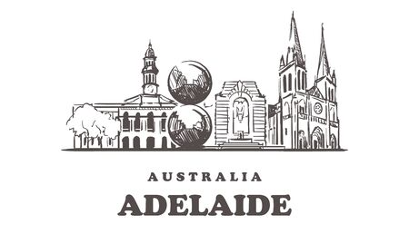 Adelaide sketch skyline. Australia, Adelaide hand drawn vector illustration. Isolated on white background.
