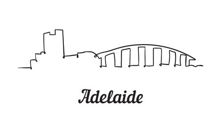One line style Adelaide skyline. Simple modern minimalistic style vector. Isolated on white background.