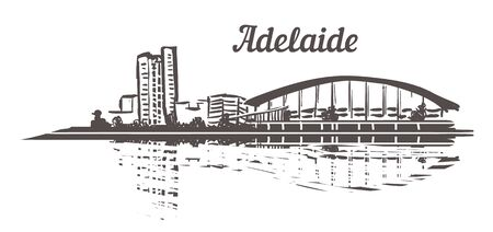 Adelaide skyline sketch. Adelaide hand drawn illustration isolated on white background.