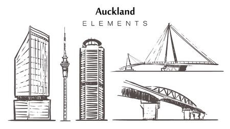 Set of hand-drawn Auckland buildings, elements sketch vector illustration. Illustration