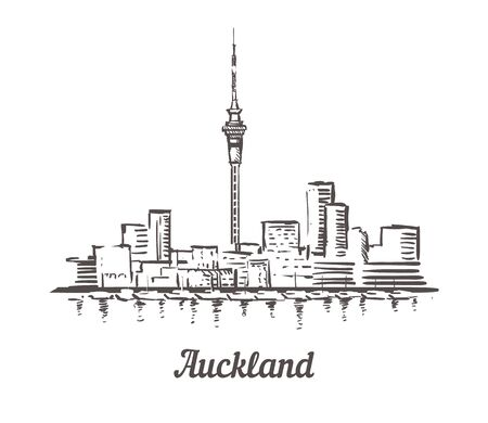 One line style Auckland skyline. Simple modern minimalistic style vector. Isolated on white background.