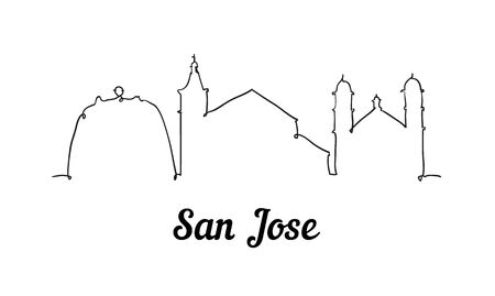 One line style San Jose skyline. Simple modern minimalistic style vector. Isolated on white background. Иллюстрация