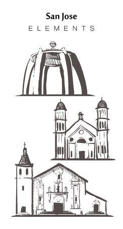 San Jose sketch skyline. California , San-Jose hand drawn vector illustration. Isolated on white background.