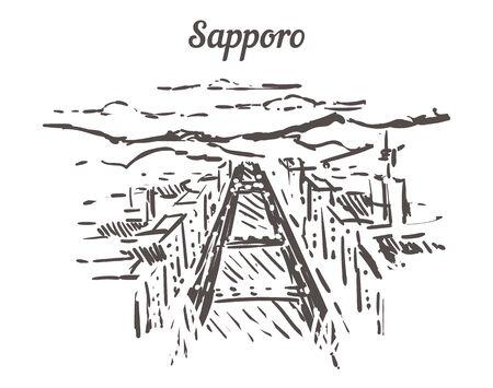 Sapporo skyline sketch. Sapporo hand drawn illustration isolated on white background.