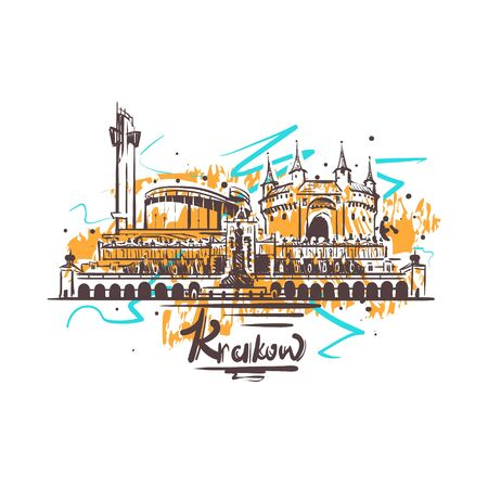Krakow abstract color drawing. Krakowsketch vector illustration isolated on white background.