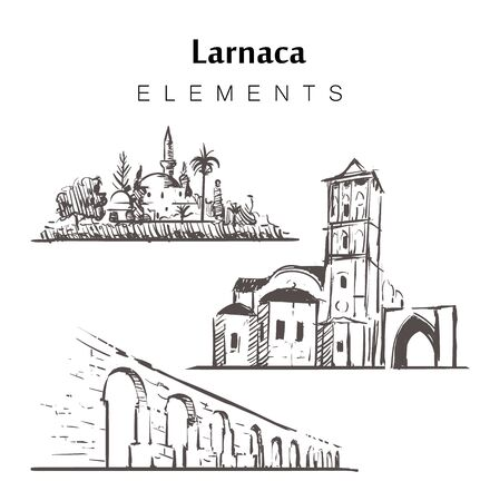 Set of hand-drawn Larnaca buildings elements sketch vector illustration. The Hala Sultan Tekke, The Church Of Saint Lazarus, The Kamares Aqueduct.