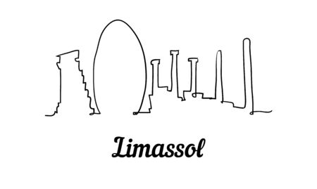 One line style Limassol skyline. Simple modern minimalistic style vector. Isolated on white background.