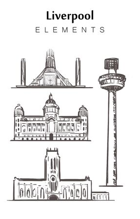 Set of hand-drawn Liverpool buildings elements sketch vector illustration. Port of Liverpool building, cathedrals, Radio city tower