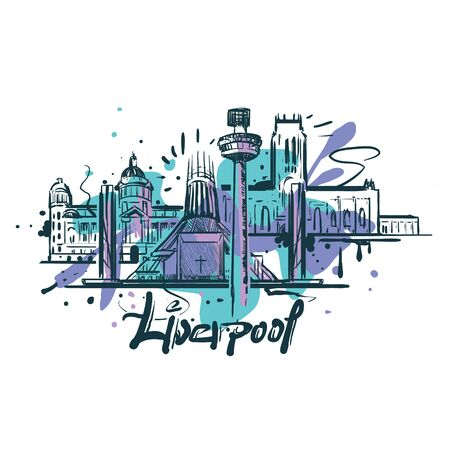 Liverpool abstract color drawing. Liverpool sketch vector illustration isolated on white background. Illustration